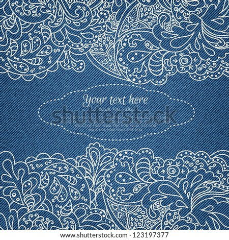 Invitation card on denim background with ornate floral pattern in vector EPS 10