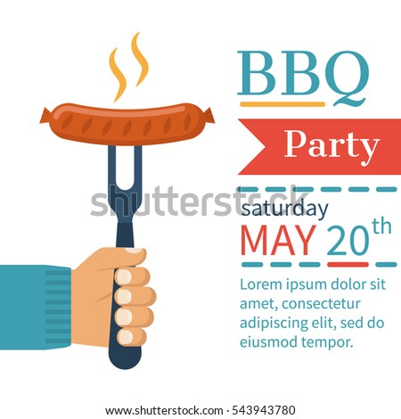 Invitation card on barbecue bbq party stock vector royalty free invitation card on the barbecue bbq party poster cooked hot fried sausage on a stopboris Choice Image