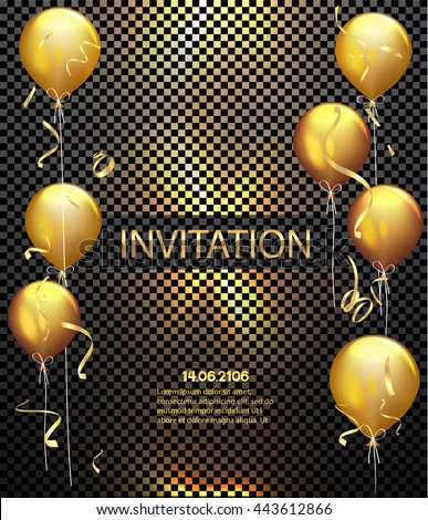 Invitation card party background gold shiny stock vector 443612866 invitation card party background gold shiny flying confetti and air balloons vector illustration stopboris Gallery