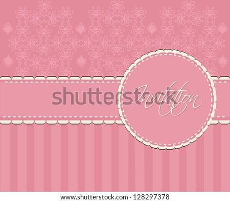 invitation card pink and romantic