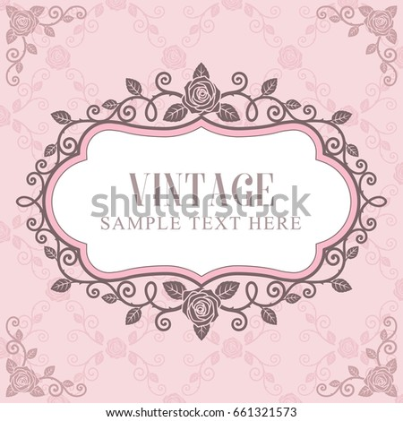Invitation card roses vintage frame on stock vector 661321573 invitation card roses vintage frame on pink roses pattern background stopboris Image collections