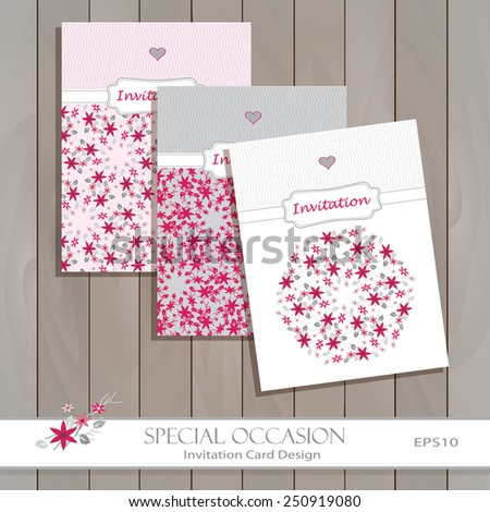 Invitation Card set design vector template. Floral Greeting card for life events, invitations & announcements. Original seamless pattern is complete masked. Layered editable design. Flower icon. - stock vector