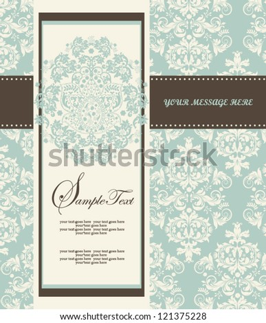 Invitation card style damask - stock vector