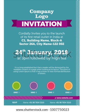Elegant Invitation Card Template For Office, Corporate, Get Together, And Student  Invite. Itu0027s