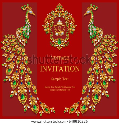 Invitation card templates gold ganesha peacock stock vector invitation card templates with gold ganesha peacock patterned and crystals on paper color stopboris Image collections