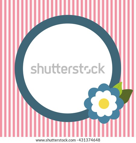 Invitation Card With Abstract Blue Flower And Pink Stripes