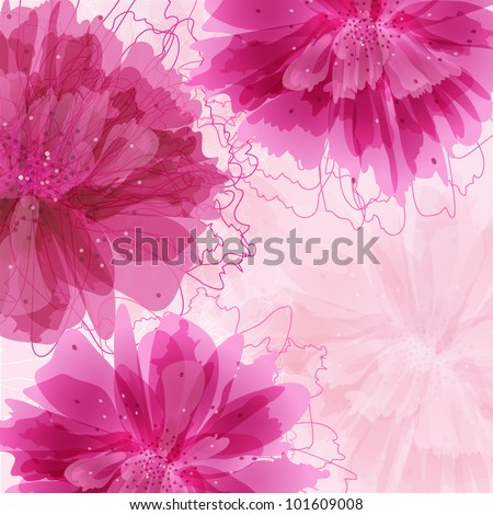 Invitation card with abstract peony flowers - stock vector
