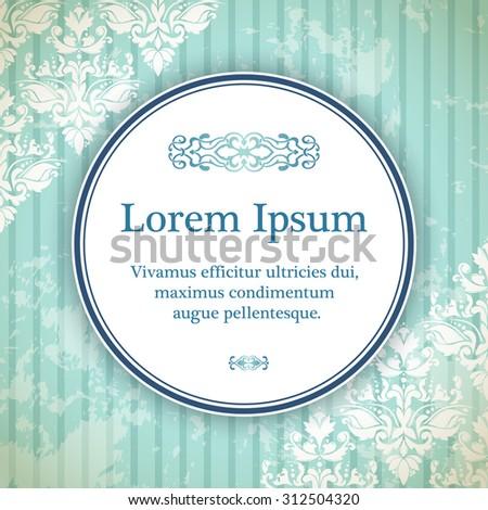 Invitation card with arabesque decor - geometric pattern in blue color - stock vector