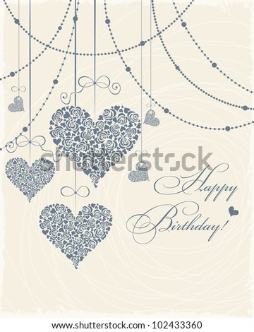 Invitation card with blue hearts - stock vector
