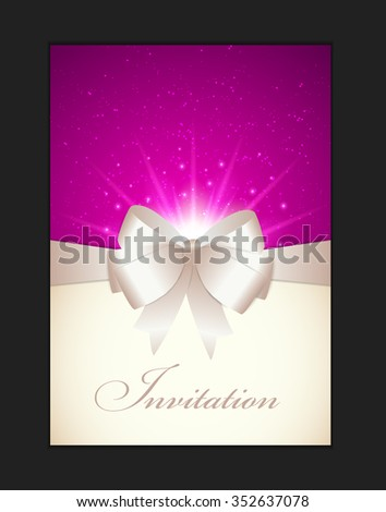 Invitation Card with Bow, Ribbon and Copy Space. Vector Illustration - stock vector