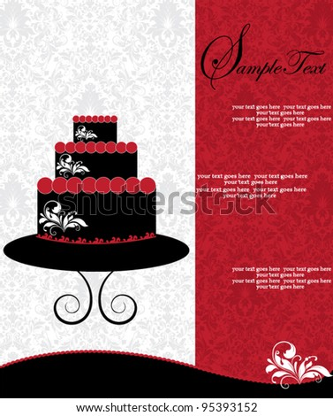 invitation card with cake on floral background - stock vector