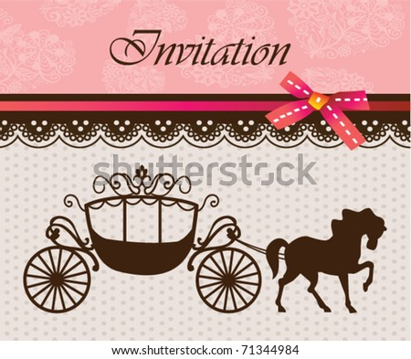 Invitation card with carriage & horse - stock vector