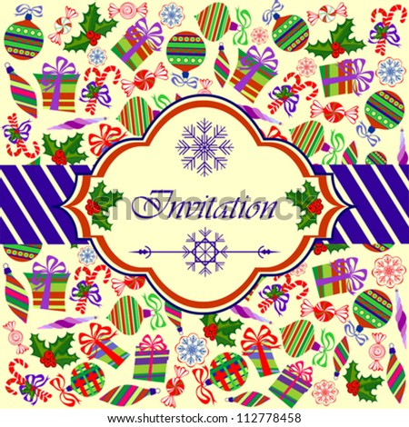 Invitation Card with Christmas Objects on Light Yellow Background, Vector Illustration