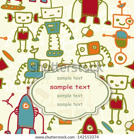 invitation card  with colorful robots . eps10 - stock vector