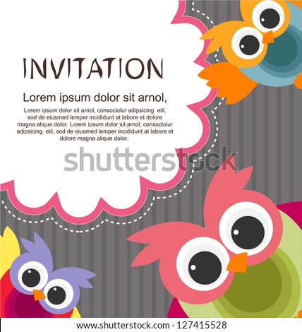 invitation card with cute owls - stock vector