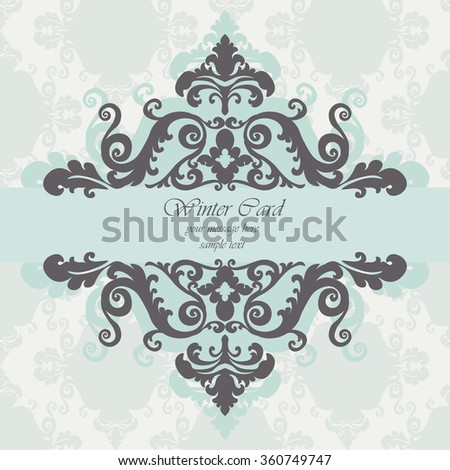 Invitation card with damask royal ornament. Vector