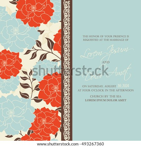 Invitation card with floral background and vintage element. Perfect as greeting card, birthday card or wedding invitation.