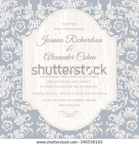 Invitation card with floral damask in light blue color. Wedding invitation with wood texture