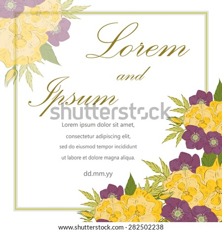 Invitation card with floral elements