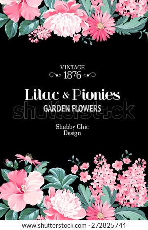 Invitation card with floral garland and text place. Vector illustration. - stock vector