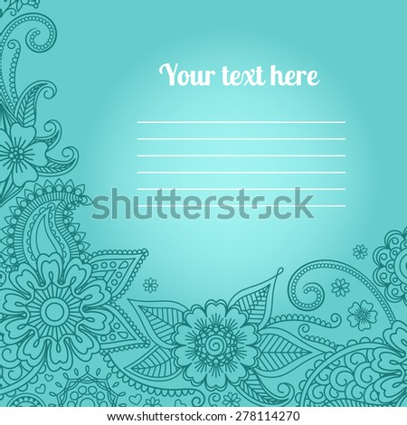 Invitation card with floral paisley pattern on blue background - stock vector