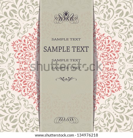 Invitation card with floral pattern eps10 - stock vector