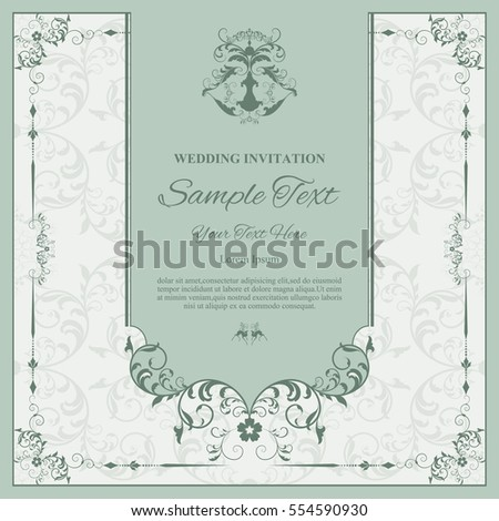 Invitation card with floral pattern on background , flyer pages illustration concept. Contemporary vintage art, frame,motifs, elements. Vector decorative retro greeting card or invitation design.