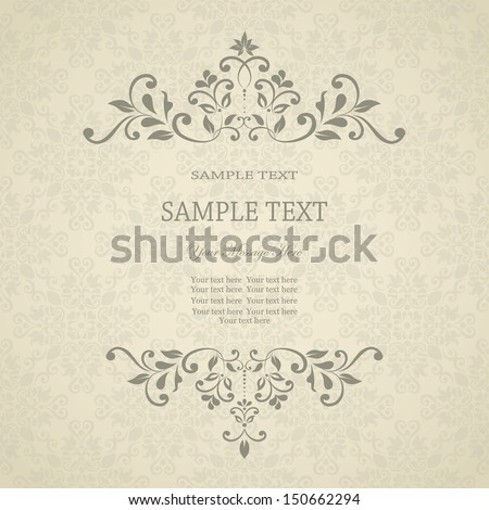 Invitation card with floral pattern on damask background. eps10  - stock vector