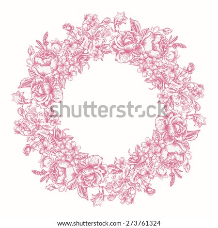 Invitation card with floral round wreath in the pink. Roses, decorative peas, buttercups. Vintage vector illustration. - stock vector