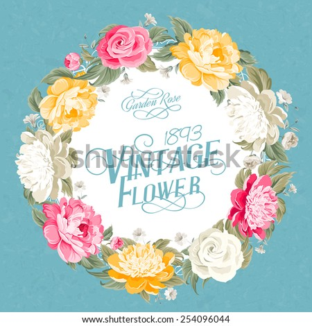 Invitation card with floral whreath and template text. Vector illustration. - stock vector