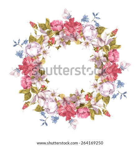 Invitation Card with Floral Wreath. Roses, Narcissus, Carnation, Butterfly and Wildflowers, Vintage Greeting Watercolor Vector Illustration. - stock vector