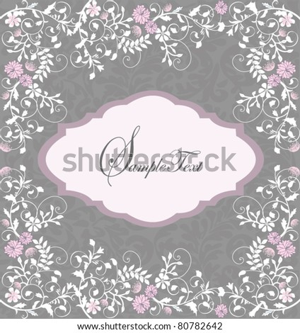 invitation card with flower elements on gray background - stock vector