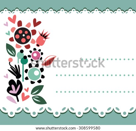 Invitation card with flower wreath,or card template for a jam - stock vector