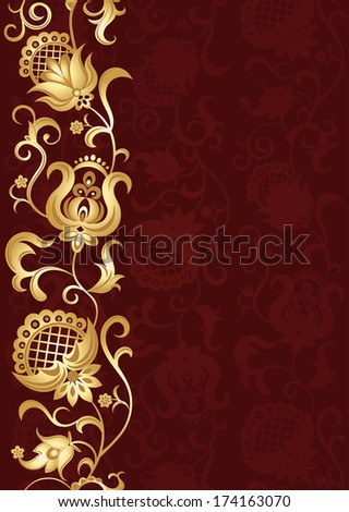 Invitation card with golden floral ornament. Beautiful background with ethnic flowers. Vector illustration.