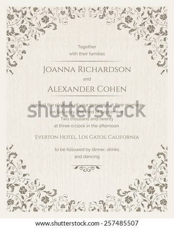 Invitation Card With Grunge Texture Wedding