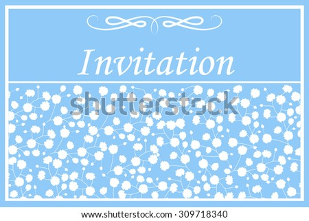 Invitation card with gypsophila flowers on blue background. Vector illustration