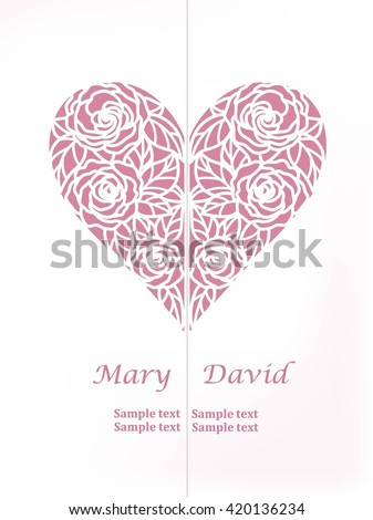 invitation card with heart of roses (laser cute) - stock vector