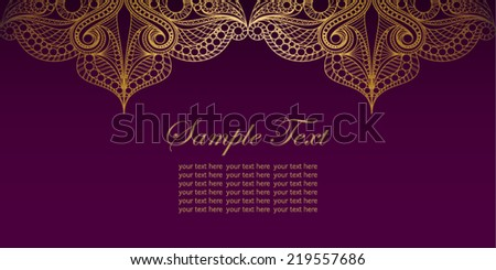 Invitation card with lace ornament.Vintage gold lace background.It can be used for & Invitation Card Lace Ornamentvintage Gold Lace Stock Photo (Photo ...