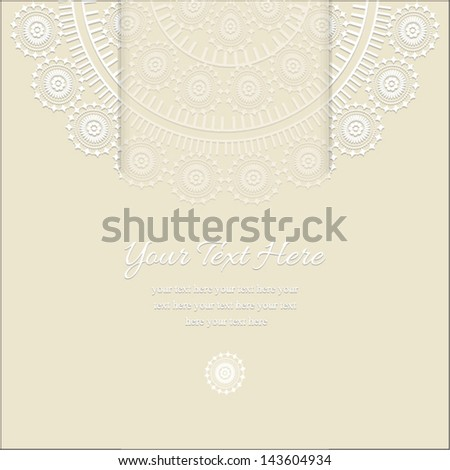 Invitation card, with light beige  background and Ornamental half round lace pattern and middle band, for invitation, backdrop, card, brochure, banner, border, wallpaper. Vector eps10, illustration.