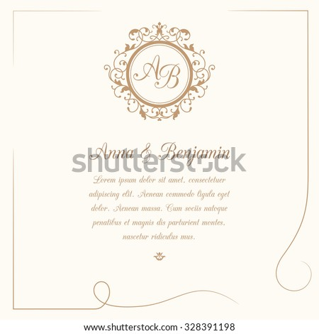 Invitation card with monogram. Wedding invitation, Save The Date. Vintage invitation template. Vector illustration - stock vector