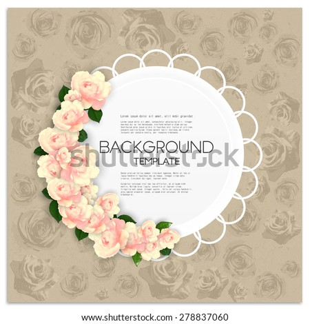 Invitation card with place for text and pink flowers over canvas texture. Vector illustration. - stock vector
