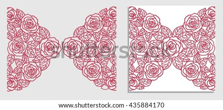 invitation card with  roses (laser cut) - stock vector