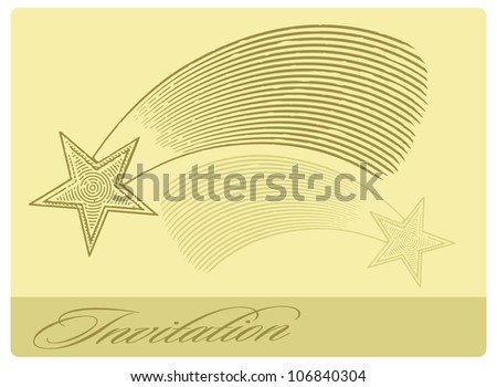 Invitation card with shooting star in engraved style - stock vector