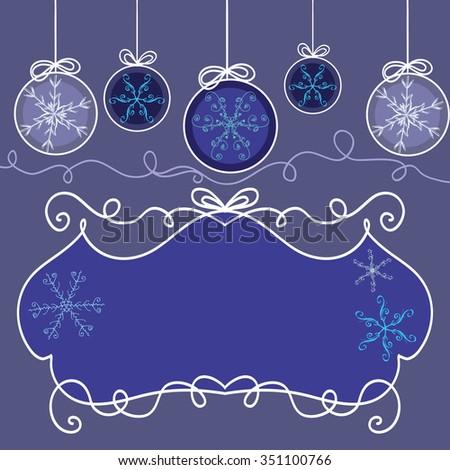 Invitation card snowflakes christmas decorations template stock invitation card with snowflakes and christmas decorations template frame design for card stopboris Choice Image