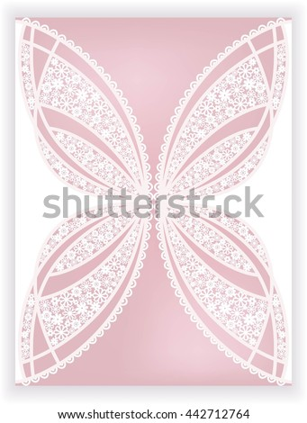 invitation card with stylization butterfly of flowers (laser cute) - stock vector