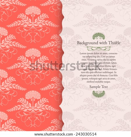 Invitation card with thistle. Wedding invitation - stock vector