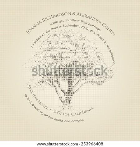 Invitation card with tree. Wedding invitation. Mosaic background - stock vector