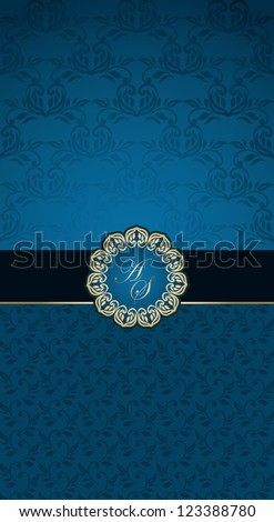 Invitation card with vintage frame on seamless wallpaper - stock vector