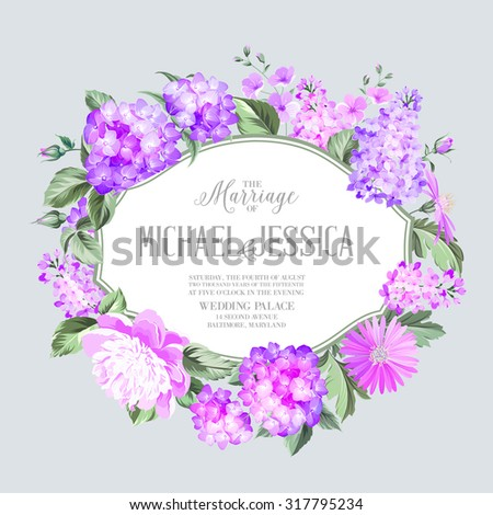 Invitation card with violet garden blooming flowers. Invitation card template with blooming hydrangea and custom text on the gray background Violet colored composition. Vector illustration. - stock vector