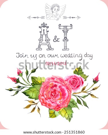Invitation card with watercolor flowers and calligraphic letters for Wedding design, Vector - stock vector